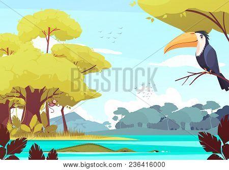 Jungle Landscape With Monkey On Tree, Crocodile In River, Flock Of Birds In Sky Cartoon Vector Illus