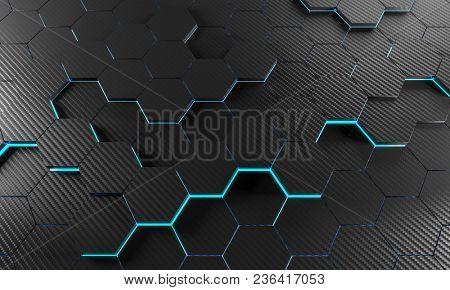 3d rendering hexagon background carbon fiber texture