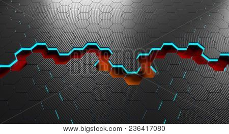 3d rendering of hexagon carbon fiber background