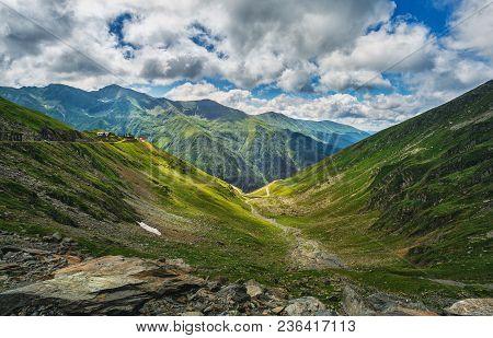 Mountain Landscape. Carpathian Mountains In Romania. Cliffs Nearby Transfagarasan Road. Discover The
