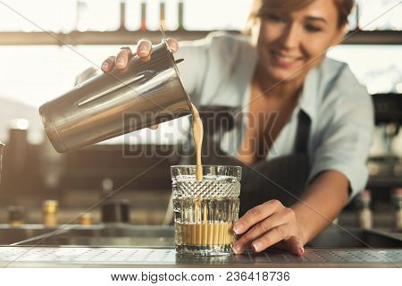 Experienced Middle Aged Barman Preparing Tasty Cold Coffee Non-alcoholic Cocktail. Bartender At His