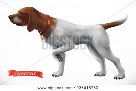 Dog. Hunting Companion 3d Vector Icon On White Background