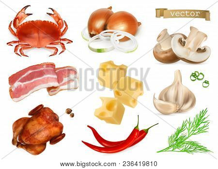 Food Flavors And Seasonings For Snacks, Natural Additives, Spice And Other Taste In Cooking. Crab, B