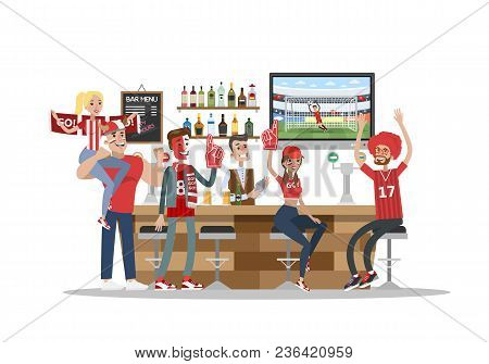 Football Fans In Bar With Fans Stuff. Red Team.