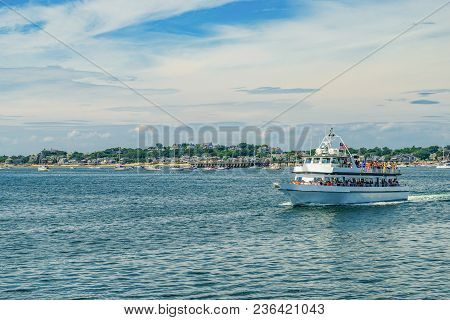 Provincetown, Cape Cod, Massachusetts, Us - August 15, 2017 Ship And His Crew Looking For A Whale.