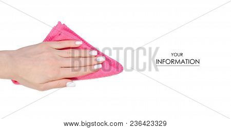 Napkin Microfiber Pink In Hand Pattern On A White Background Isolation