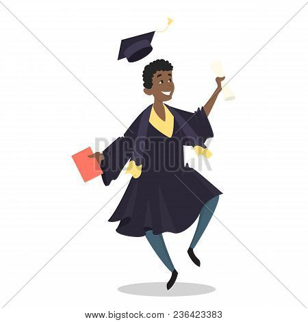 Graduated Student Jumping Happy With Diploma On White.