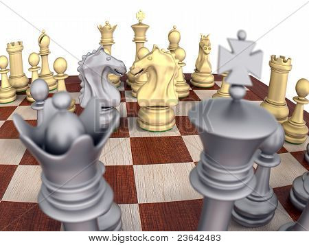 Metal Chess Set On Wooden Board, Knights Confronting.