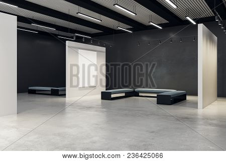 Modern Exhibition Hall With Empty Poster And Bench. Gallery, Art, Exhibit And Museum Concept. Mock U