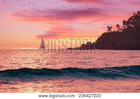 Vacation Holidays Postcard - Beautiful Landscape, Sunset At Warm Sea, Sailboat On Horizon, Island Wi