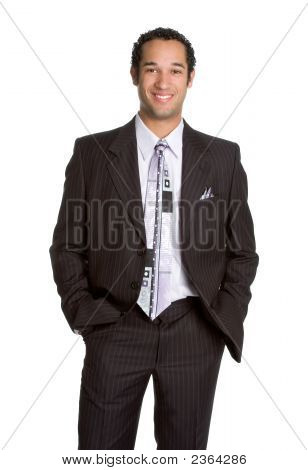 Happy handsome young african amercian businessman smiling poster