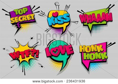 Whaam Wtf Kiss Love Pop Set Hand Drawn Pictures Effects Template Comics Speech Bubble Halftone Dot B