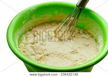 Liquid Dough For Pancakes, Ready Dough For Baking Pancakes, Dough In A Bowl And Whisk For Mixing