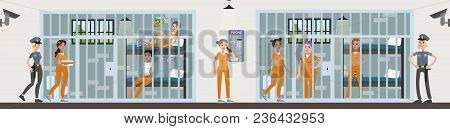 Female Prison Interior Rooms. Prisoners With Police Officers.
