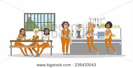 Female Prison Interior Canteen. Prisoners With Police Officers.