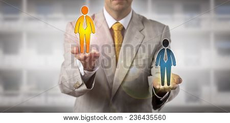 Unrecognizable Recruitment Manager Lifting Up The Selected Winner Among Two Final Candidates. Human