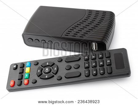Tv Set, Player With Remote Control On White Background