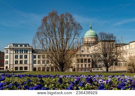 A View To The Nikolaikirche In Potsdam With Some Flowers