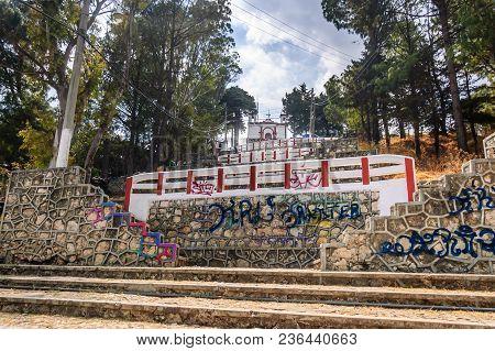 San Cristobal De Las Casas, Mexico - March 26, 2015: Looking Uphill To Templo De San Cristobal In Un