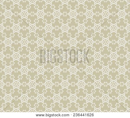Vector Golden Lace Seamless Pattern. Abstract Gold Ornament. Geometric Mosaic, Delicate Grid, Hexago