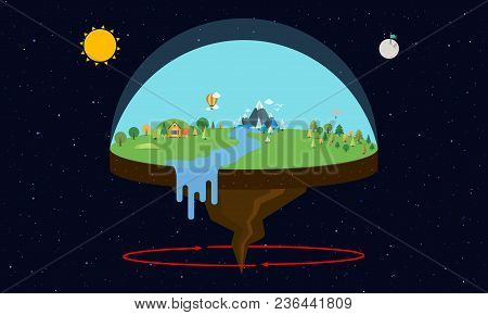 Theory Of Flat Earth. Vector Illustration In Flat Design