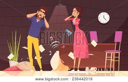 Man And Woman Closing Ears And Loud Howl Of Puppy After Pranks In Home Interior Vector Illustration