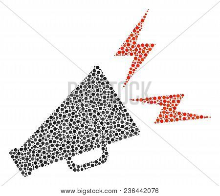 Alert Megaphone Mosaic Of Dots In Variable Sizes And Color Tinges. Circle Dots Are United Into Alert