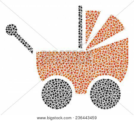 Baby Carriage Collage Of Small Circles In Various Sizes And Color Tones. Round Dots Are Organized In