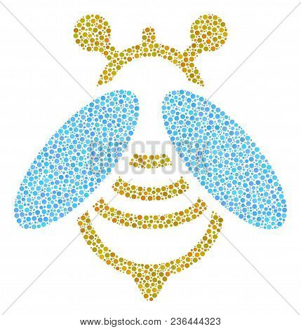 Bee Collage Of Round Dots In Various Sizes And Color Tints. Round Dots Are Grouped Into Bee Vector C