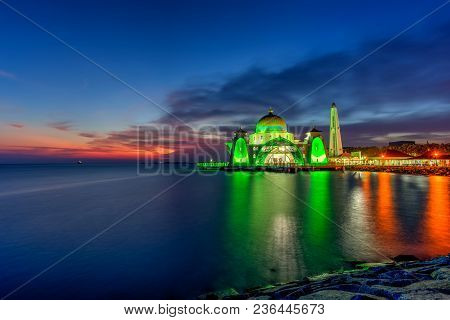Beautiful Sunset Over The Majestic Mosque, Malacca Straits Mosque (masjid Selat). Soft Focus Due To