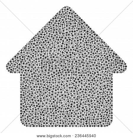 Cabin Mosaic Of Small Circles In Different Sizes And Color Tinges. Dots Are Organized Into Cabin Vec