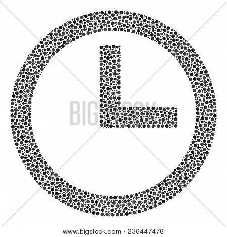 Clock Collage Of Small Circles In Variable Sizes And Color Tinges. Round Dots Are United Into Clock