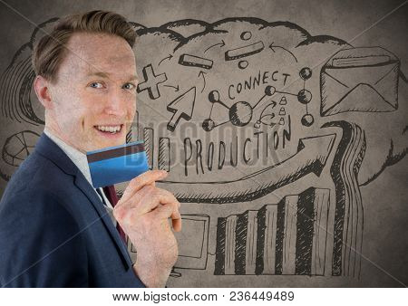 Business man with credit card against brown background with production doodle and grunge overlay