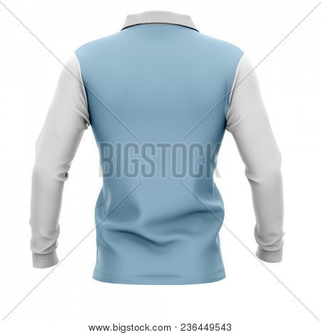 Men's polo shirt with long sleeves. Back view. 3d rendering. Clipping paths included: whole object, collar, sleeve, buttons. Isolated on white background.