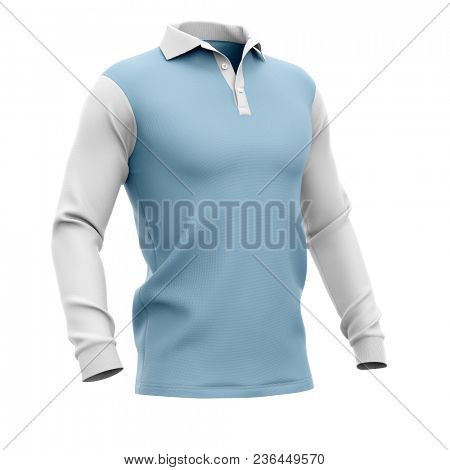 Men's polo shirt with long sleeves. Half-front view. 3d rendering. Clipping paths included: whole object, collar, sleeve, buttons. Isolated on white background.
