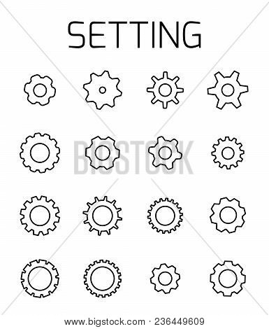 Setting Related Vector Icon Set. Well-crafted Sign In Thin Line Style With Editable Stroke. Vector S