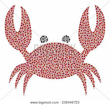 Crab Collage Of Circle Dots In Variable Sizes And Color Tints. Circle Dots Are Grouped Into Crab Vec