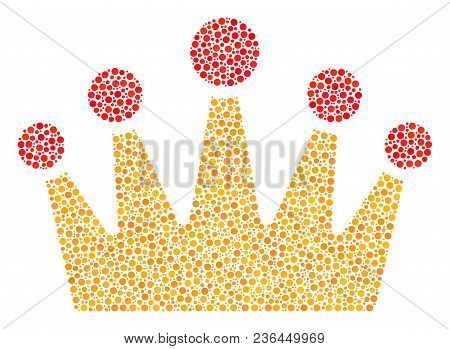 Crown Collage Of Dots In Various Sizes And Color Tones. Dots Are Composed Into Crown Vector Illustra