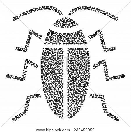Cucaracha Collage Of Circle Dots In Various Sizes And Color Shades. Small Circles Are Organized Into