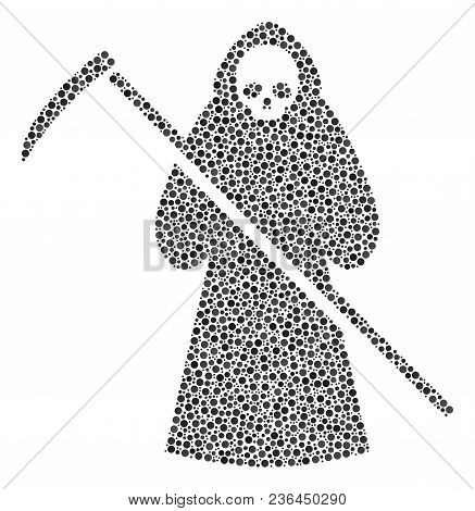 Death Scytheman Composition Of Round Dots In Various Sizes And Color Tinges. Dots Are Composed Into