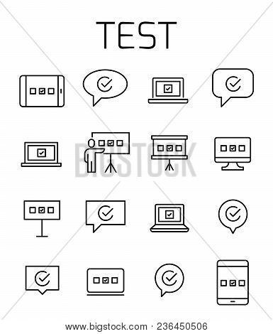 Test Related Vector Icon Set. Well-crafted Sign In Thin Line Style With Editable Stroke. Vector Symb