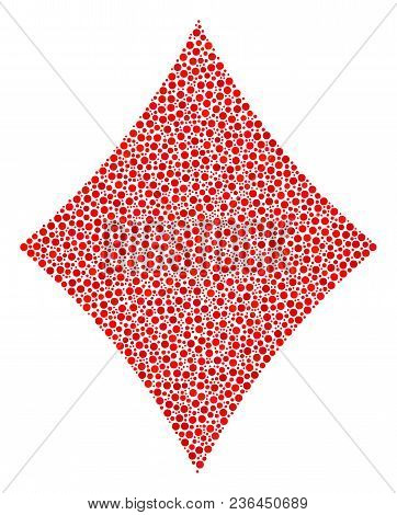 Diamonds Suit Collage Of Small Circles In Different Sizes And Color Hues. Dots Are United Into Diamo