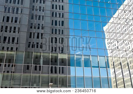 Abstract Of Office Buildings Reflected On Skyscraper Glass In Downtown Minneapolis Minnesota