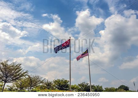 State Flag Of Malaysia And Johor Bahru Flag.malaysia Flag Also Known As Jalur Gemilang Wave With The