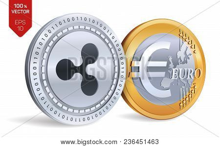 Ripple. Euro Coin. 3d Isometric Physical Coins. Digital Currency. Cryptocurrency. Golden And Silver