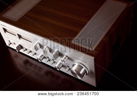 Analog Audio Stereo Amplifier Angled View from the Top Dark