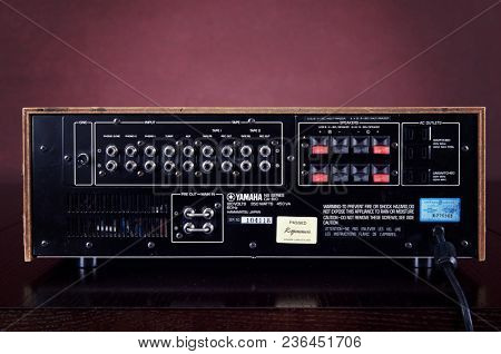Vintage Stereo Amplifier Rear Panel Terminals Closeup