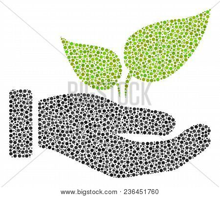 Eco Startup Hand Mosaic Of Round Dots In Variable Sizes And Color Tinges. Circle Elements Are United