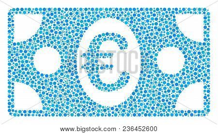 Euro Banknote Mosaic Of Circle Dots In Different Sizes And Color Hues. Dots Are Organized Into Euro