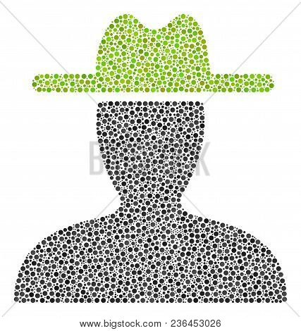 Farmer Collage Of Small Circles In Different Sizes And Color Shades. Small Circles Are Composed Into